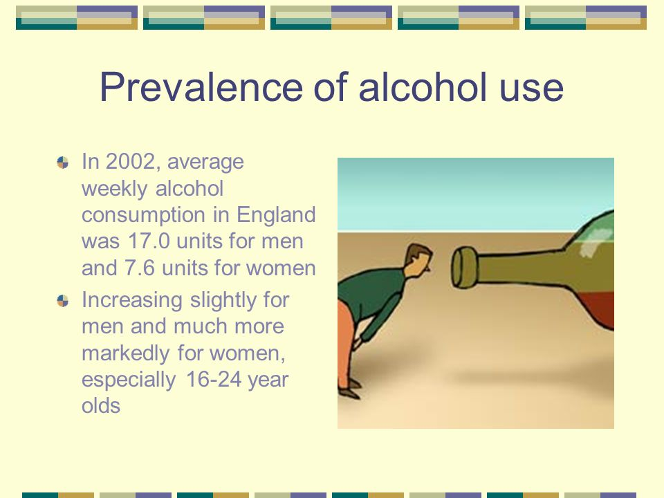 Prevalence of alcohol use In 2002, average weekly alcohol consumption in England was 17.0 units for men and 7.6 units for women Increasing slightly for men and much more markedly for women, especially 16-24 year olds