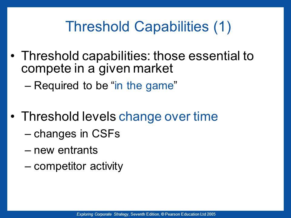 Exploring Corporate Strategy, Seventh Edition, © Pearson Education Ltd 2005 Threshold Capabilities (1) Threshold capabilities: those essential to comp