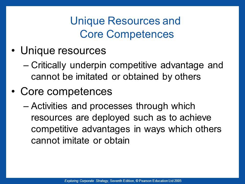 Exploring Corporate Strategy, Seventh Edition, © Pearson Education Ltd 2005 Unique Resources and Core Competences Unique resources –Critically underpi