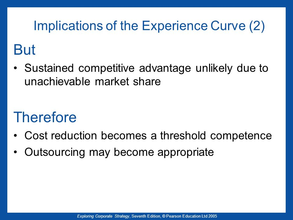 Exploring Corporate Strategy, Seventh Edition, © Pearson Education Ltd 2005 Implications of the Experience Curve (2) But Sustained competitive advanta