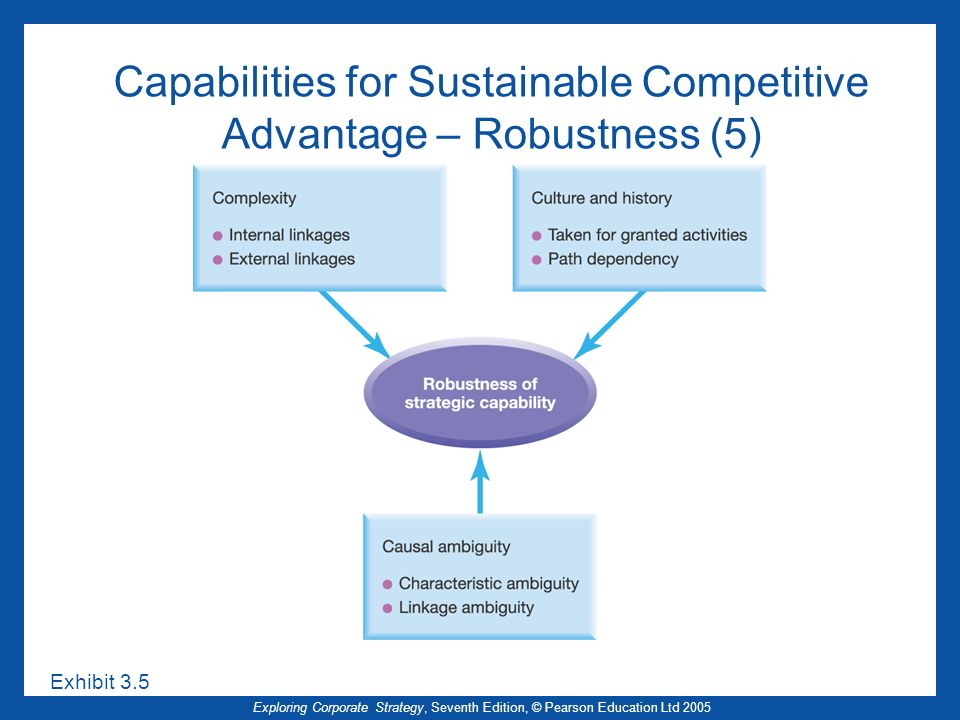 Exploring Corporate Strategy, Seventh Edition, © Pearson Education Ltd 2005 Capabilities for Sustainable Competitive Advantage – Robustness (5) Exhibi
