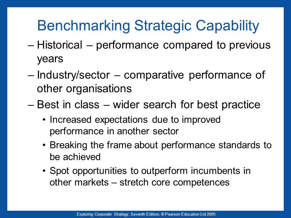 Exploring Corporate Strategy, Seventh Edition, © Pearson Education Ltd 2005 Benchmarking Strategic Capability –Historical – performance compared to pr