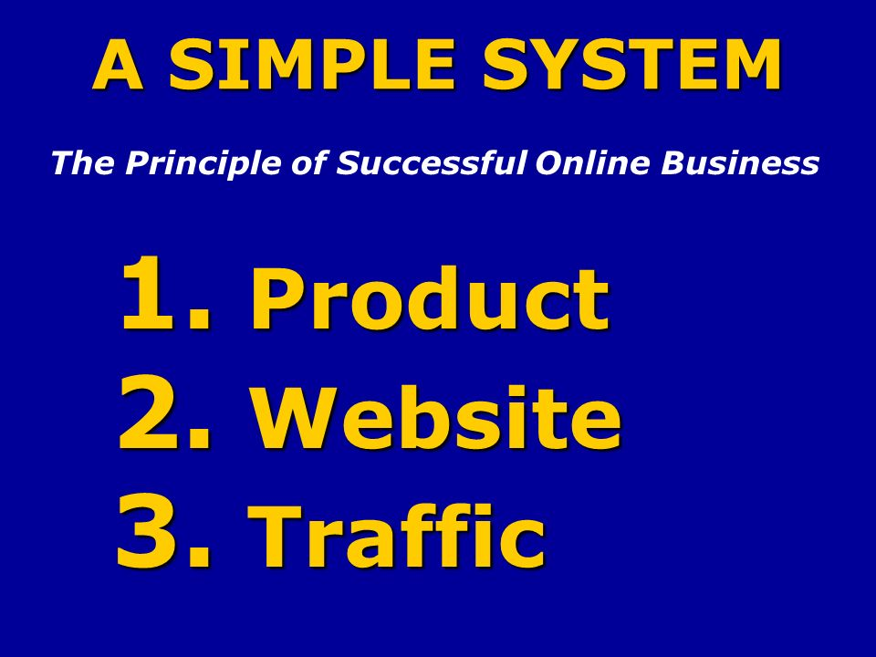 A SIMPLE SYSTEM The Principle of Successful Online Business 1. Product 2. Website 3. Traffic