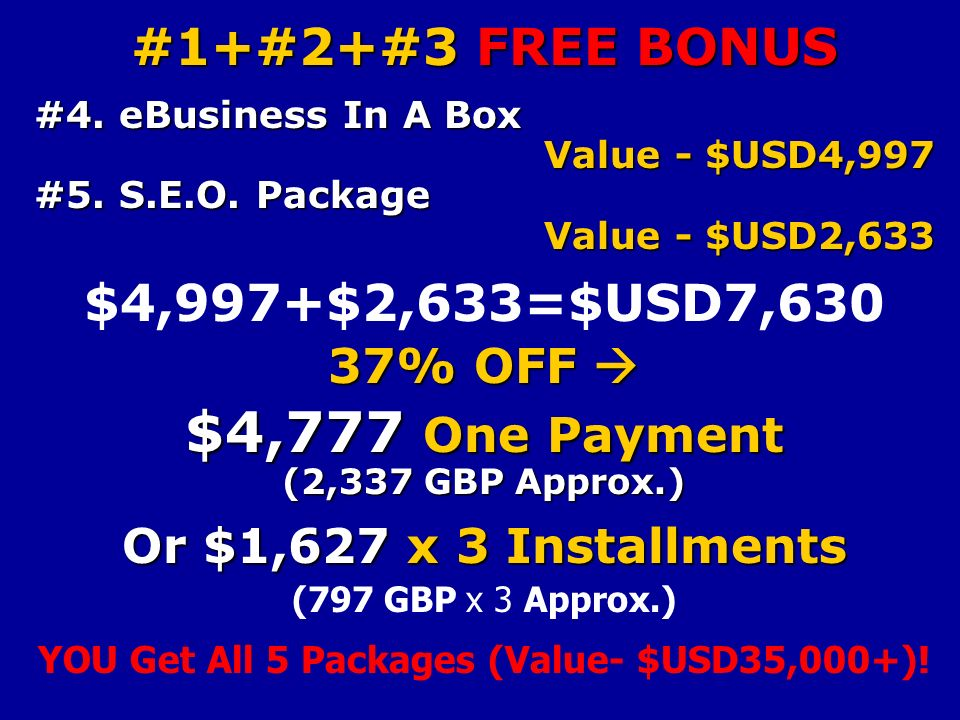 #1+#2+#3 FREE BONUS #4. eBusiness In A Box Value - $USD4,997 #5.