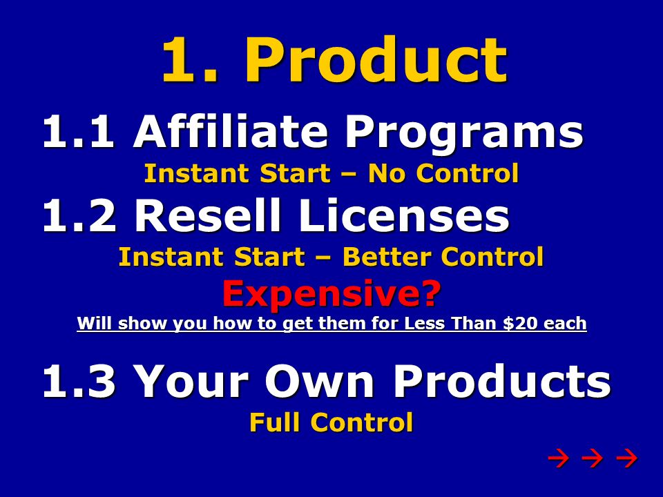 1. Product 1.1 Affiliate Programs 1.1 Affiliate Programs Instant Start – No Control 1.2 Resell Licenses 1.2 Resell Licenses Instant Start – Better Con