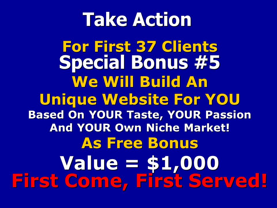 Take Action For First 37 Clients Special Bonus #5 We Will Build An Unique Website For YOU Based On YOUR Taste, YOUR Passion And YOUR Own Niche Market.