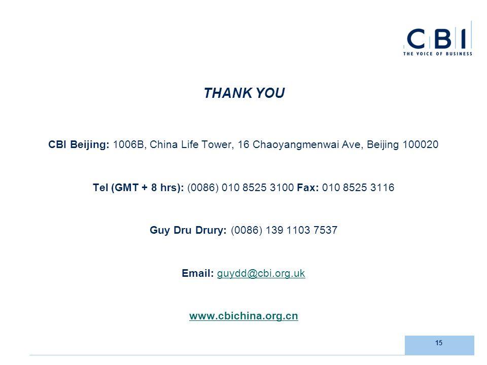 15 THANK YOU CBI Beijing: 1006B, China Life Tower, 16 Chaoyangmenwai Ave, Beijing 100020 Tel (GMT + 8 hrs): (0086) 010 8525 3100 Fax: 010 8525 3116 Guy Dru Drury: (0086) 139 1103 7537 Email: guydd@cbi.org.ukguydd@cbi.org.uk www.cbichina.org.cn