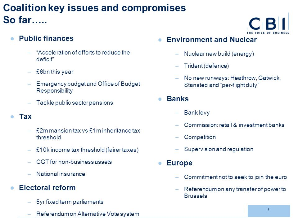 7 Coalition key issues and compromises So far…..