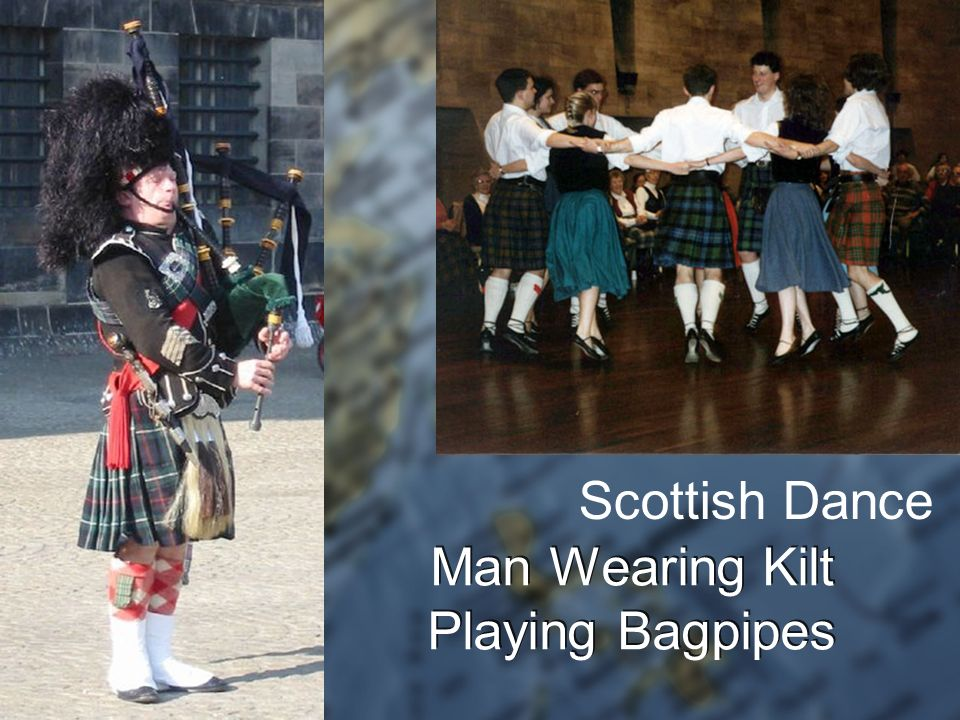Man Wearing Kilt Playing Bagpipes Scottish Dance