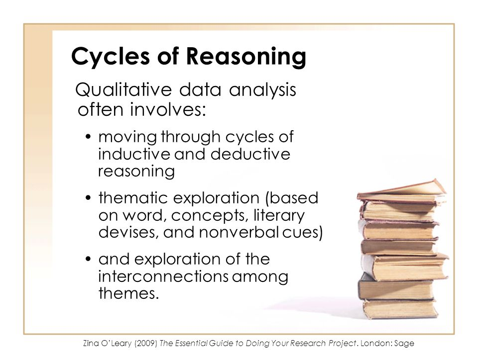 Cycles of Reasoning Qualitative data analysis often involves: moving through cycles of inductive and deductive reasoning thematic exploration (based on word, concepts, literary devises, and nonverbal cues) and exploration of the interconnections among themes.