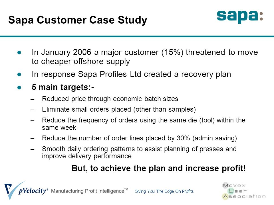 Sapa Customer Case Study In January 2006 a major customer (15%) threatened to move to cheaper offshore supply In response Sapa Profiles Ltd created a recovery plan 5 main targets:- –Reduced price through economic batch sizes –Eliminate small orders placed (other than samples) –Reduce the frequency of orders using the same die (tool) within the same week –Reduce the number of order lines placed by 30% (admin saving) –Smooth daily ordering patterns to assist planning of presses and improve delivery performance But, to achieve the plan and increase profit!