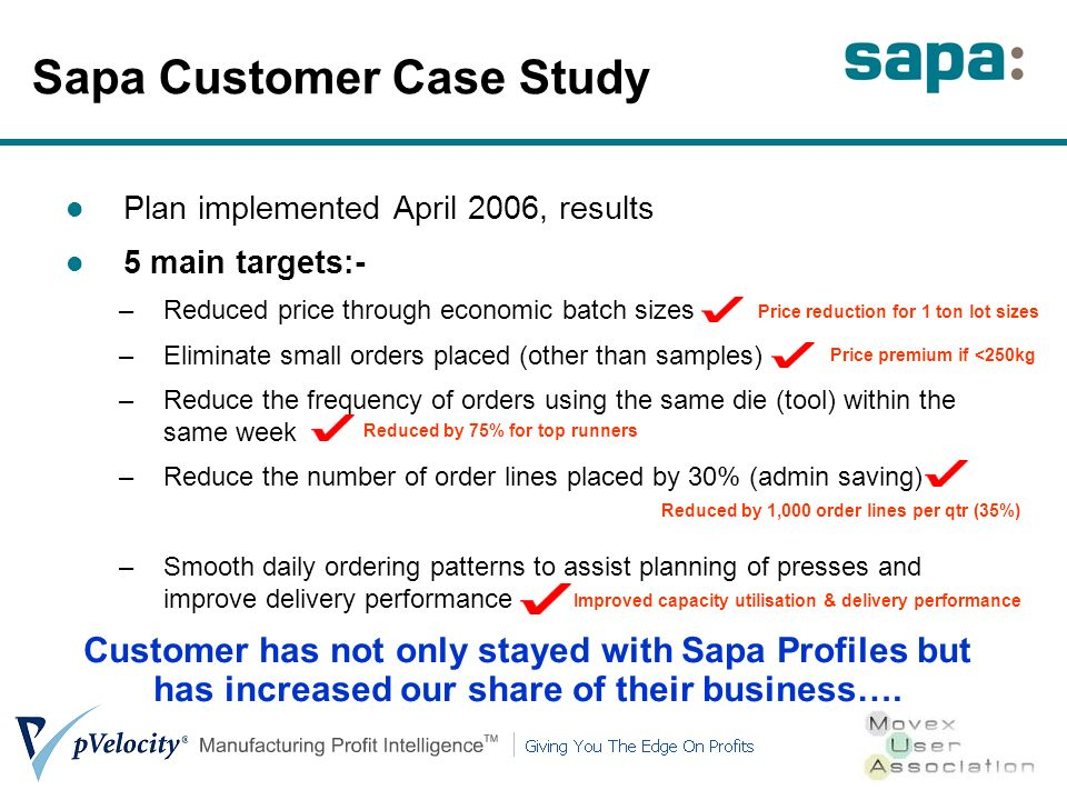 Plan implemented April 2006, results 5 main targets:- –Reduced price through economic batch sizes –Eliminate small orders placed (other than samples)