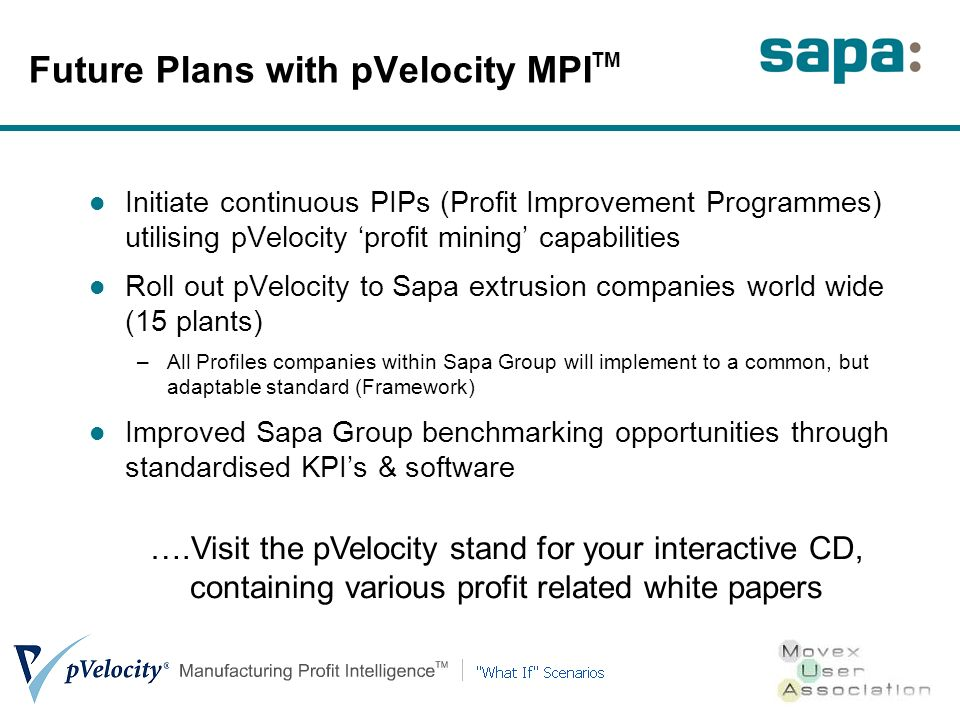 Future Plans with pVelocity MPI TM Initiate continuous PIPs (Profit Improvement Programmes) utilising pVelocity profit mining capabilities Roll out pVelocity to Sapa extrusion companies world wide (15 plants) –All Profiles companies within Sapa Group will implement to a common, but adaptable standard (Framework) Improved Sapa Group benchmarking opportunities through standardised KPIs & software ….Visit the pVelocity stand for your interactive CD, containing various profit related white papers