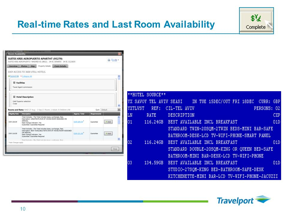 Real-time Rates and Last Room Availability 10