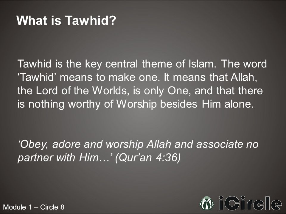 Module 1 – Circle 8 What is Allahs right.
