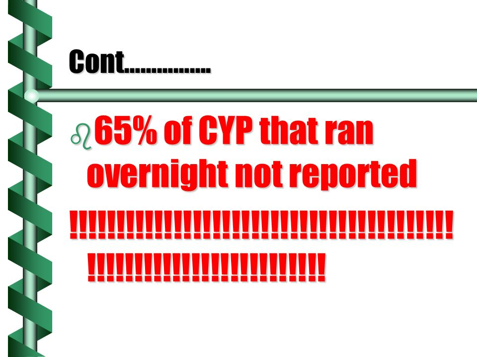 Cont……………. b 65% of CYP that ran overnight not reported !!!!!!!!!!!!!!!!!!!!!!!!!!!!!!!!!!!!!!!.