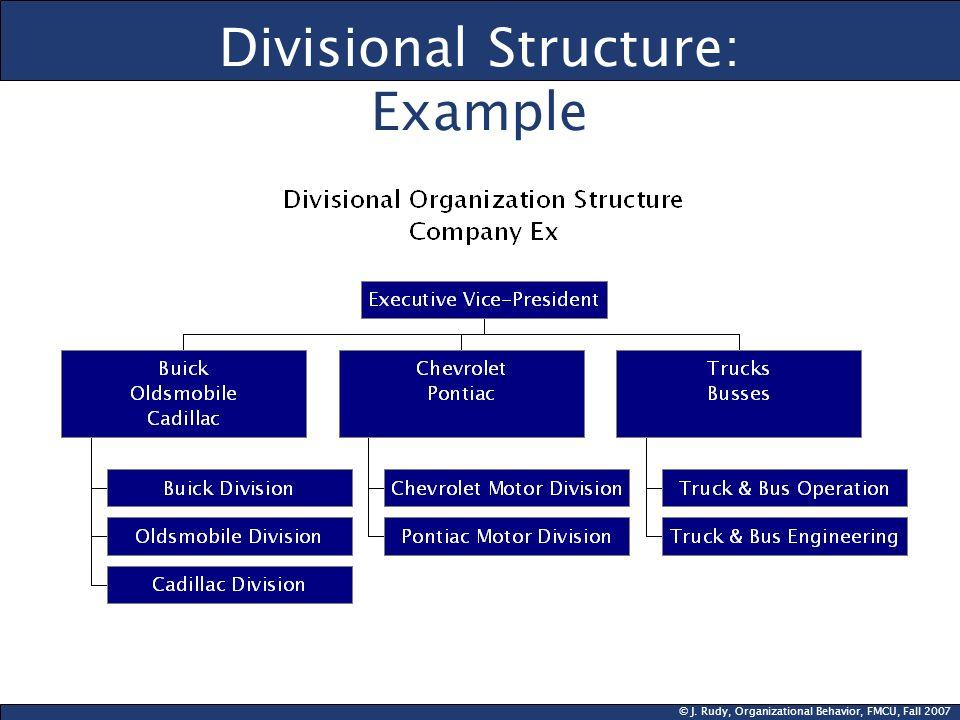 © J. Rudy, Organizational Behavior, FMCU, Fall 2007 Divisional Structure: Example