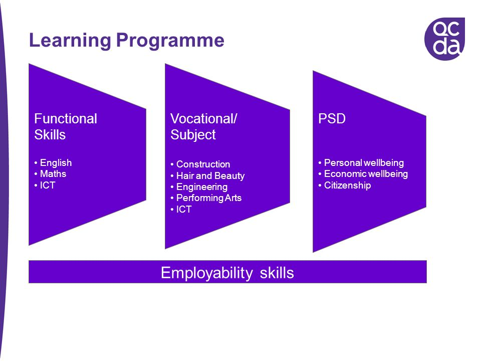 Learning Programme Employability skills Functional Skills English Maths ICT Vocational/ Subject Construction Hair and Beauty Engineering Performing Ar