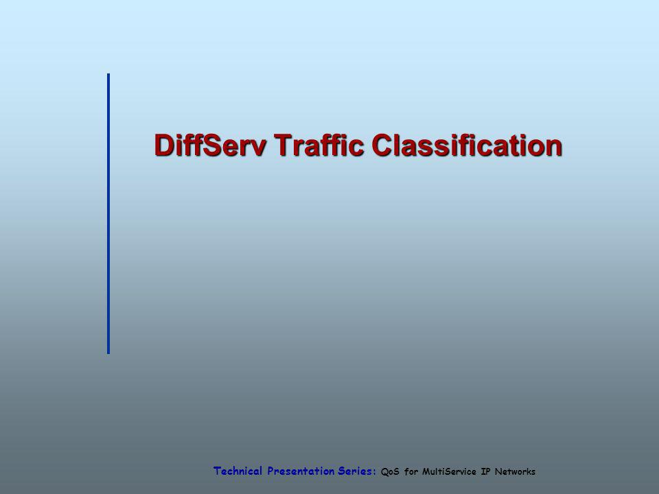 Technical Presentation Series: QoS for MultiService IP Networks DiffServ Traffic Classification