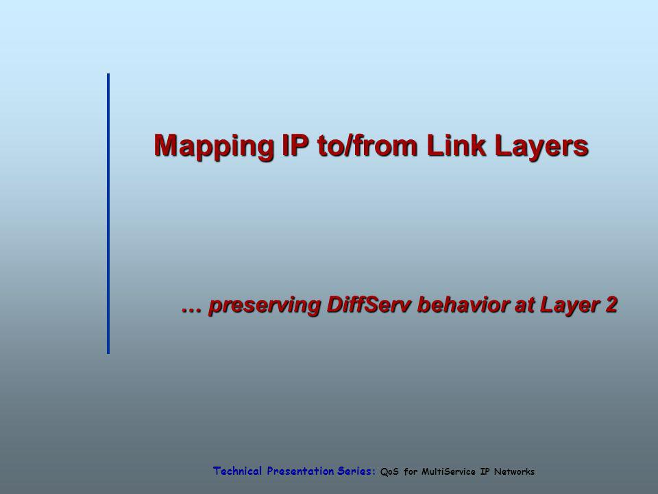Technical Presentation Series: QoS for MultiService IP Networks Mapping IP to/from Link Layers … preserving DiffServ behavior at Layer 2