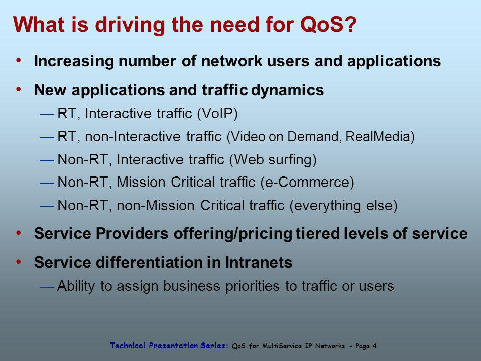Technical Presentation Series: QoS for MultiService IP Networks - Page 4 What is driving the need for QoS? Increasing number of network users and appl