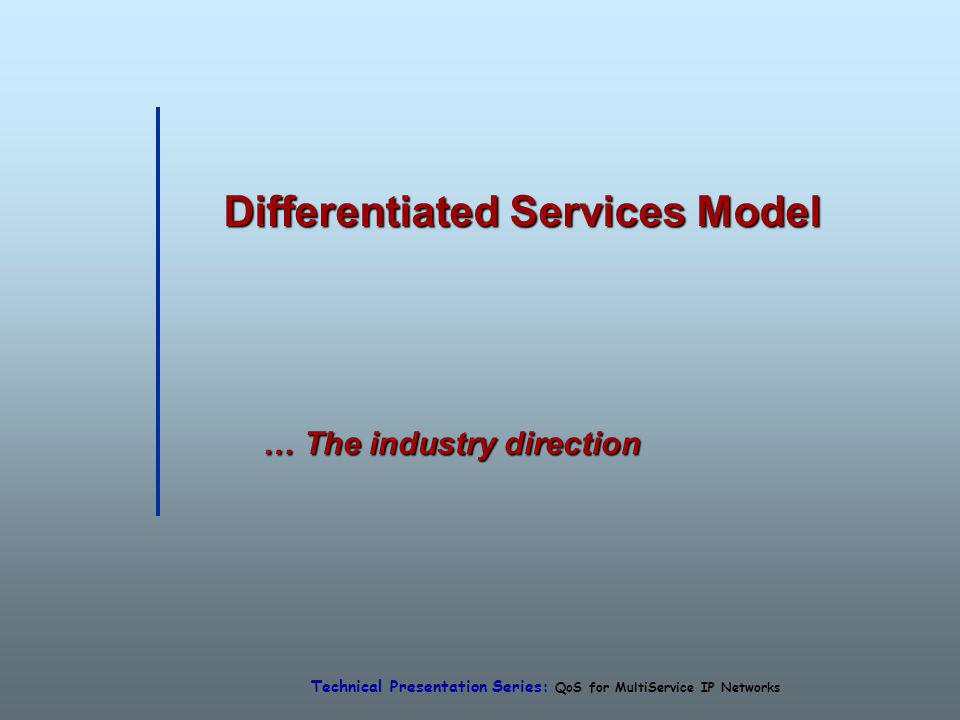 Technical Presentation Series: QoS for MultiService IP Networks Differentiated Services Model … The industry direction