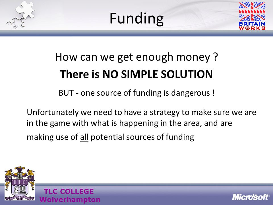 TLC COLLEGE Wolverhampton Funding How can we get enough money .