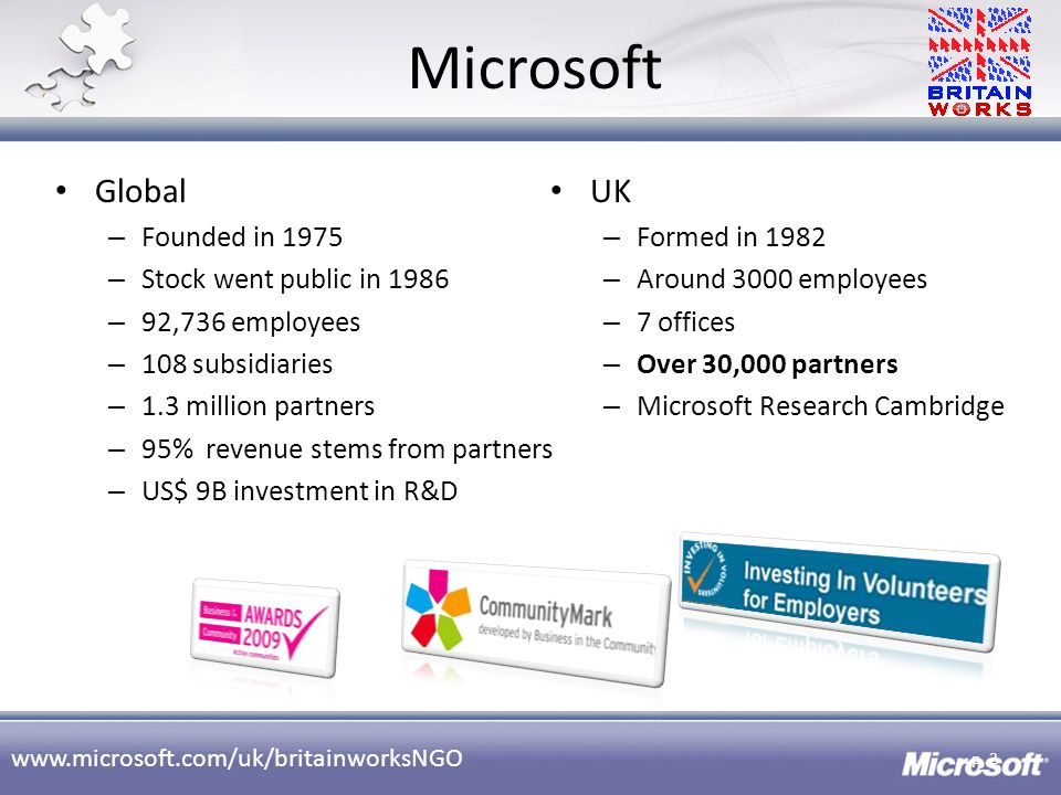 www.microsoft.com/uk/britainworksNGO Microsoft p. 2 Global – Founded in 1975 – Stock went public in 1986 – 92,736 employees – 108 subsidiaries – 1.3 m