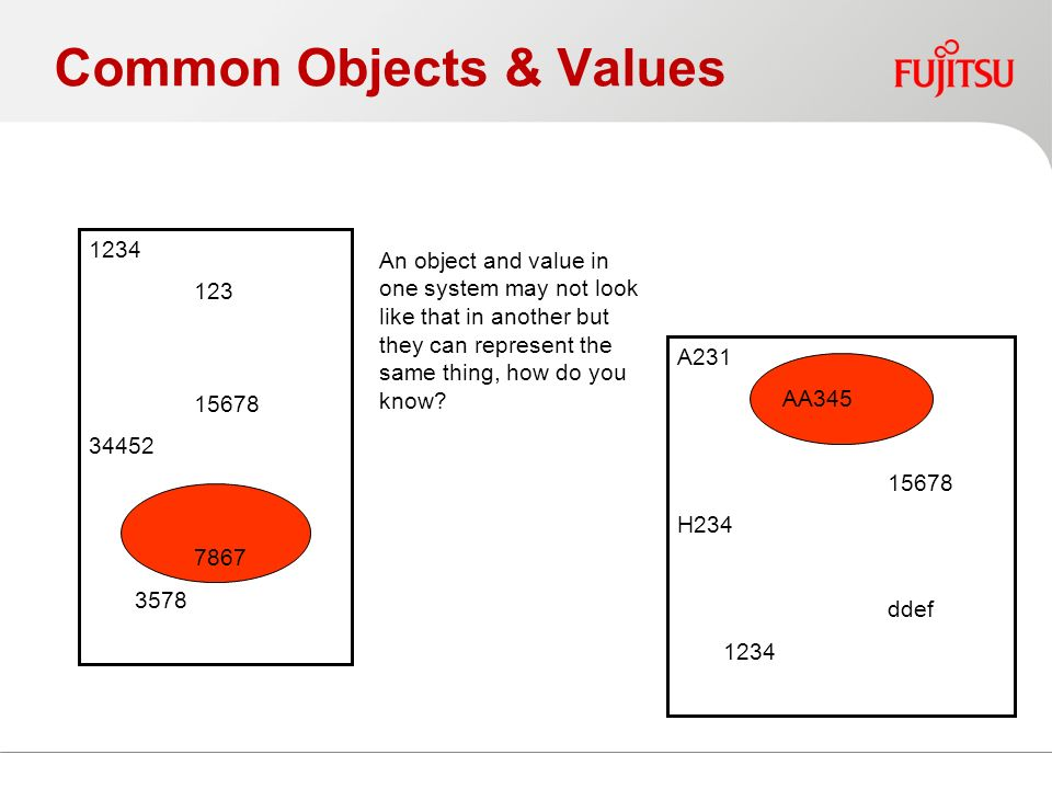 Common Objects & Values 1234 123 15678 34452 7867 3578 A231 AA345 15678 H234 ddef 1234 An object and value in one system may not look like that in another but they can represent the same thing, how do you know