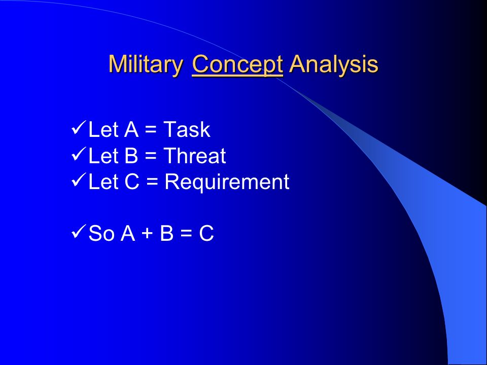 Military Concept Analysis Let A = Task Let B = Threat Let C = Requirement So A + B = C