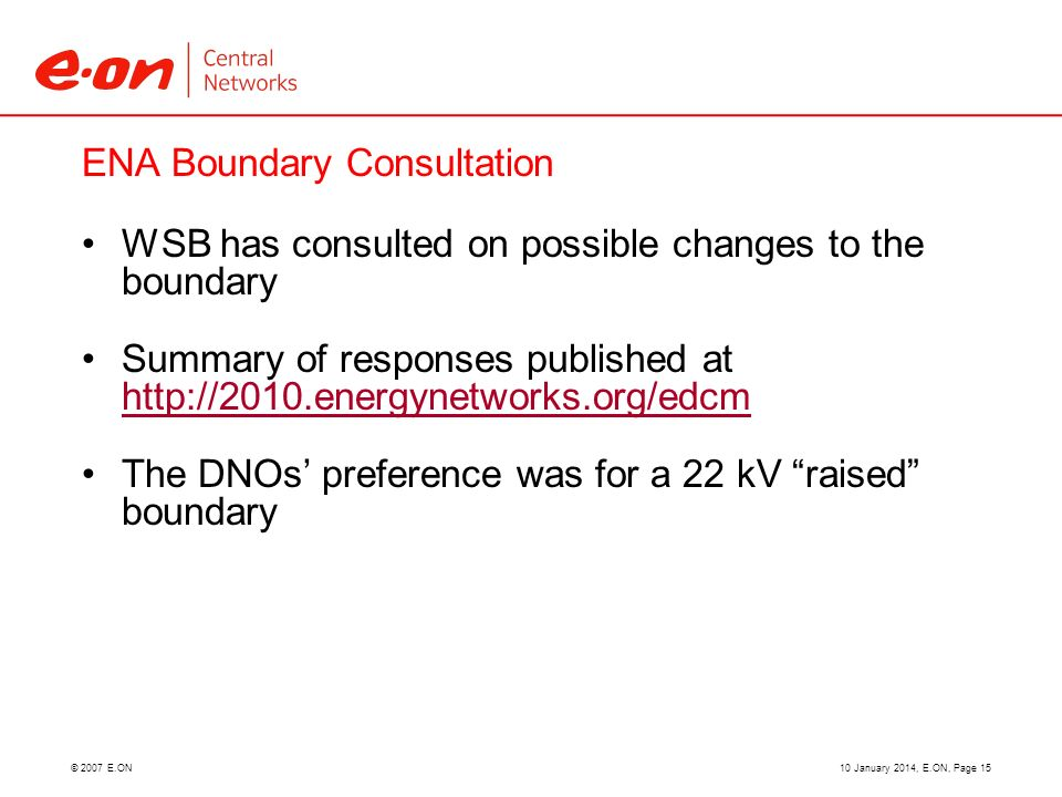 © 2007 E.ON ENA Boundary Consultation WSB has consulted on possible changes to the boundary Summary of responses published at http://2010.energynetwor