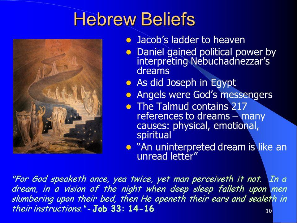 10 Hebrew Beliefs Jacobs ladder to heaven Daniel gained political power by interpreting Nebuchadnezzars dreams As did Joseph in Egypt Angels were Gods