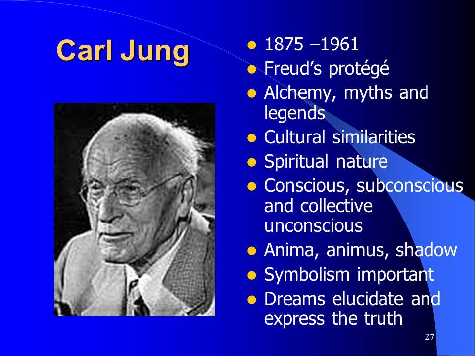 27 Carl Jung 1875 –1961 Freuds protégé Alchemy, myths and legends Cultural similarities Spiritual nature Conscious, subconscious and collective uncons