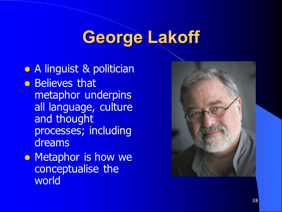 38 George Lakoff A linguist & politician Believes that metaphor underpins all language, culture and thought processes; including dreams Metaphor is ho