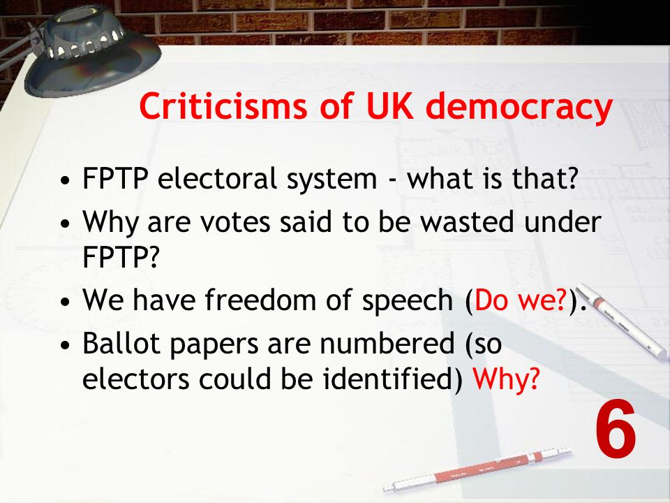 Arguments for referendums Form of direct democracy Encourages political participation A check on elective dictatorship Can provide a clear answer to a specific question.