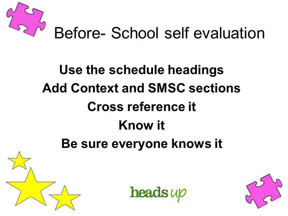 Before- School self evaluation Use the schedule headings Add Context and SMSC sections Cross reference it Know it Be sure everyone knows it