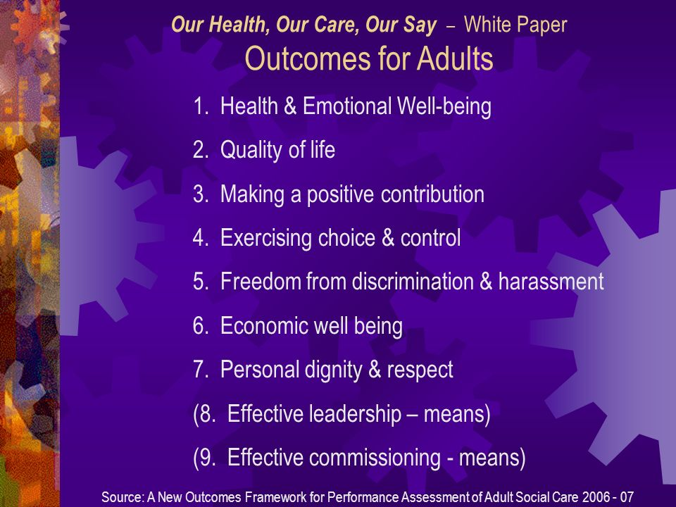 1. Health & Emotional Well-being 2. Quality of life 3.