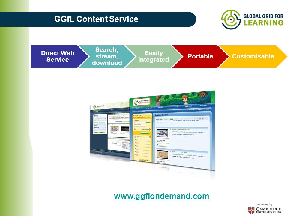 Direct Web Service Search, stream, download Easily integrated PortableCustomisable GGfL Content Service www.ggflondemand.com
