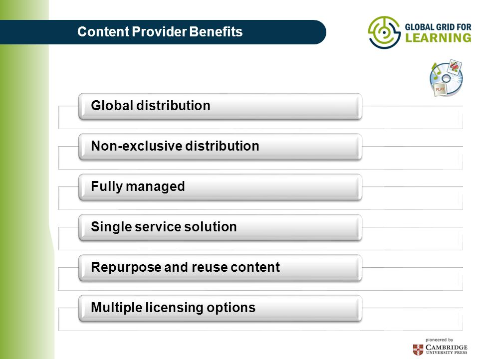 Content Provider Benefits Global distributionNon-exclusive distributionFully managedSingle service solutionRepurpose and reuse contentMultiple licensing options