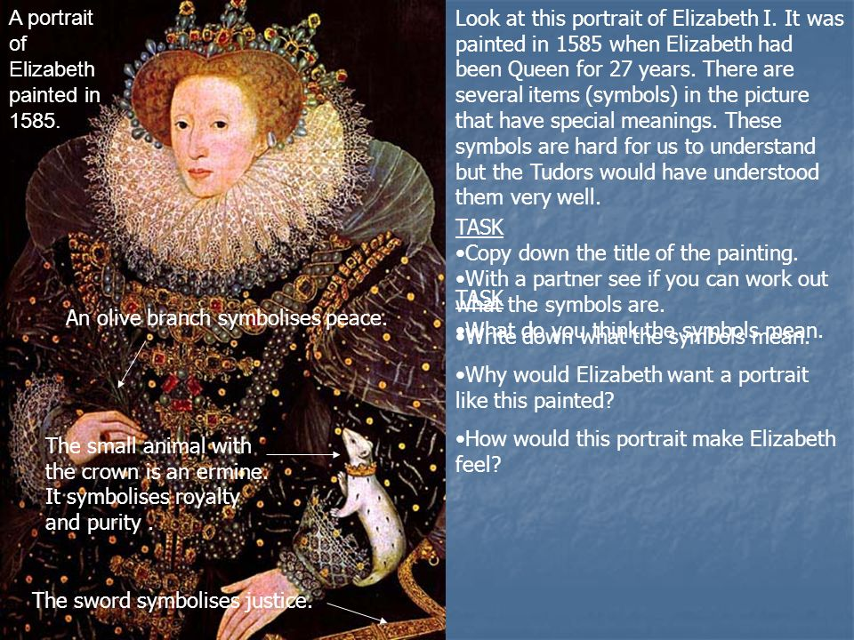 A portrait of Elizabeth painted in 1585. TASK Copy down the title of the painting.