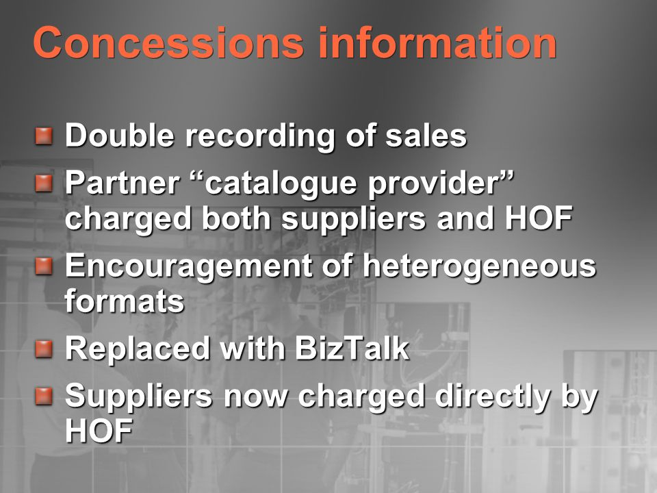 Concessions information Double recording of sales Partner catalogue provider charged both suppliers and HOF Encouragement of heterogeneous formats Rep