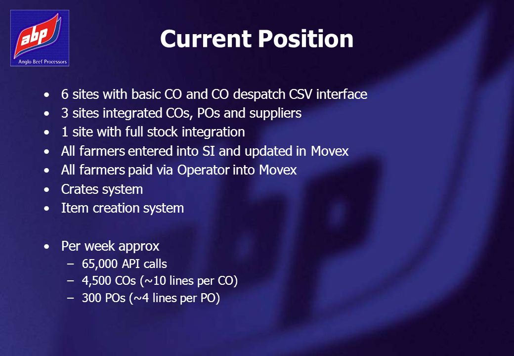 Current Position 6 sites with basic CO and CO despatch CSV interface 3 sites integrated COs, POs and suppliers 1 site with full stock integration All