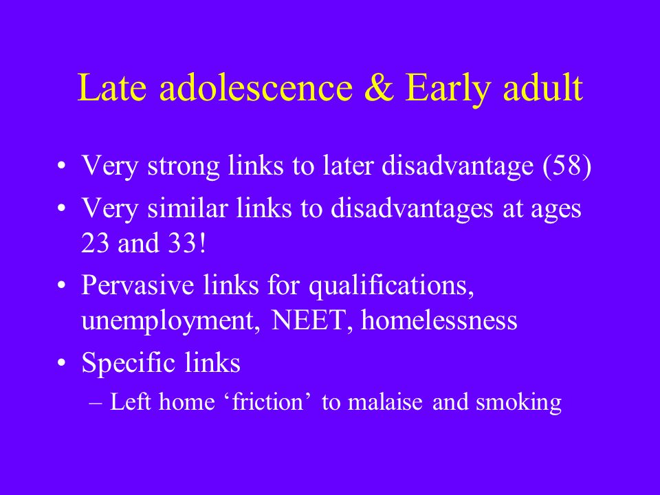 Late adolescence & Early adult Very strong links to later disadvantage (58) Very similar links to disadvantages at ages 23 and 33.
