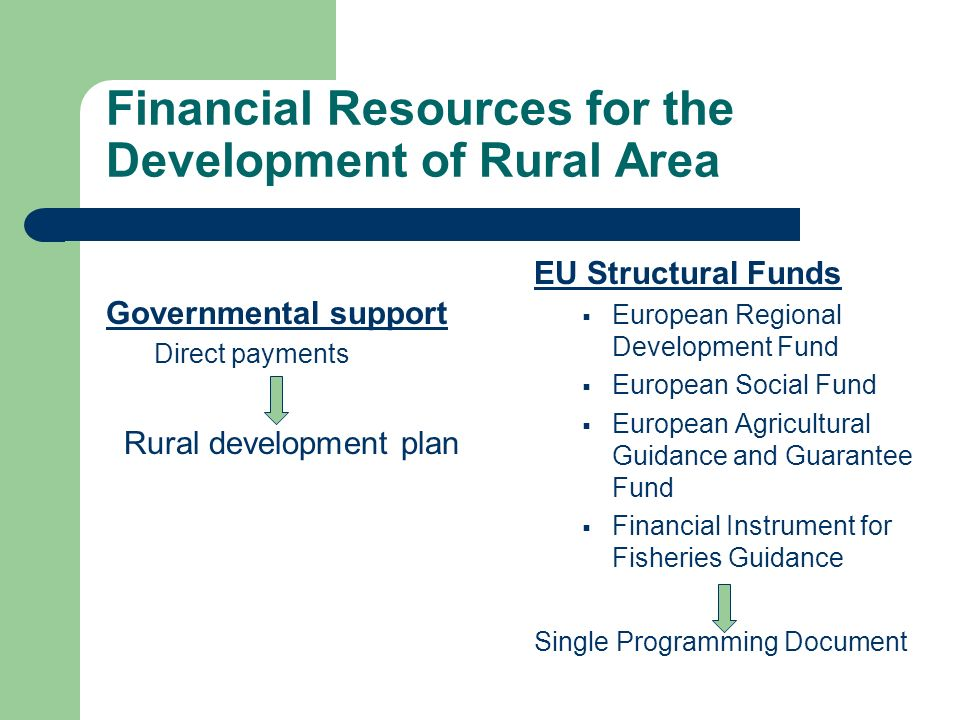 Financial Resources for the Development of Rural Area Governmental support Direct payments Rural development plan EU Structural Funds European Regional Development Fund European Social Fund European Agricultural Guidance and Guarantee Fund Financial Instrument for Fisheries Guidance Single Programming Document