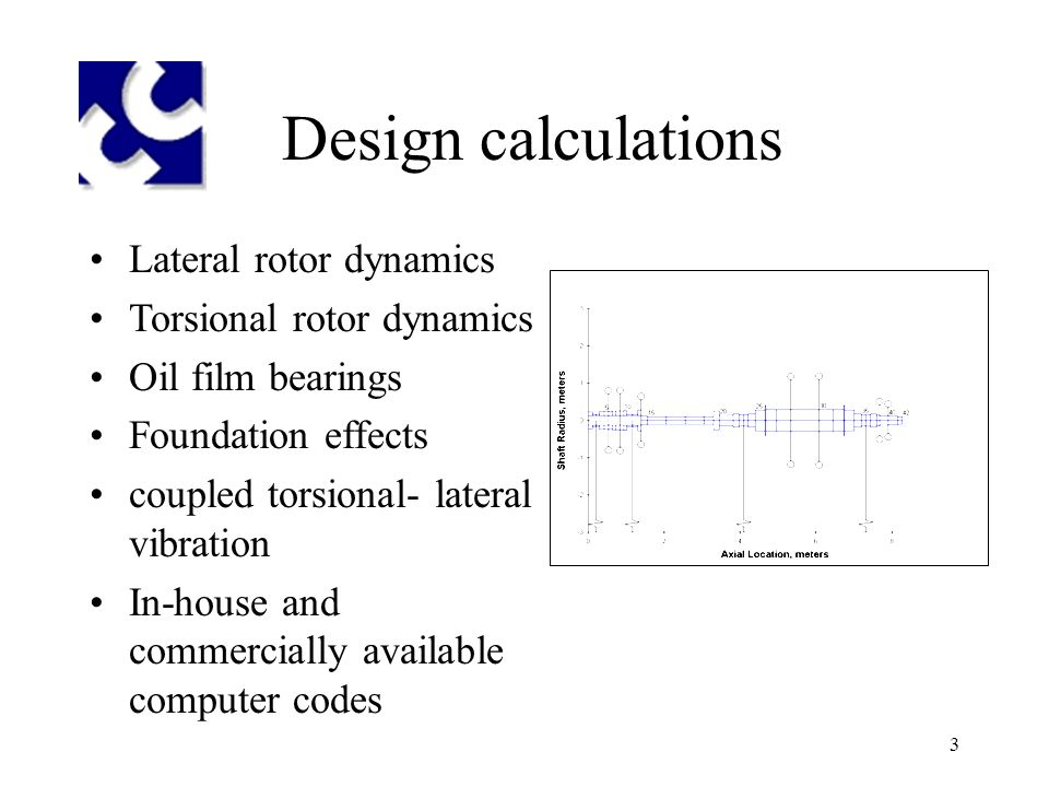3 Design calculations Lateral rotor dynamics Torsional rotor dynamics Oil film bearings Foundation effects coupled torsional- lateral vibration In-house and commercially available computer codes