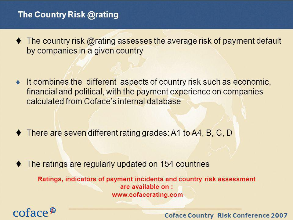 Coface Country Risk Conference 2007 *Payment Incident index 100: World 1995-2000 basis Payment experience in Europe : Italy is back to « normal », beware of overheating risks in Spain