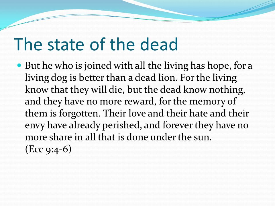 The state of the dead But he who is joined with all the living has hope, for a living dog is better than a dead lion. For the living know that they wi