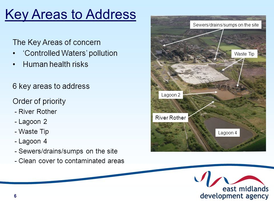 6 The Key Areas of concern Controlled Waters pollution Human health risks 6 key areas to address Order of priority - River Rother - Lagoon 2 - Waste Tip - Lagoon 4 - Sewers/drains/sumps on the site - Clean cover to contaminated areas Key Areas to Address River Rother Lagoon 2 Waste Tip Lagoon 4 Sewers/drains/sumps on the site