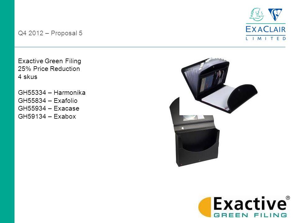 Exactive Green Filing 25% Price Reduction 4 skus GH55334 – Harmonika GH55834 – Exafolio GH55934 – Exacase GH59134 – Exabox Q4 2012 – Proposal 5