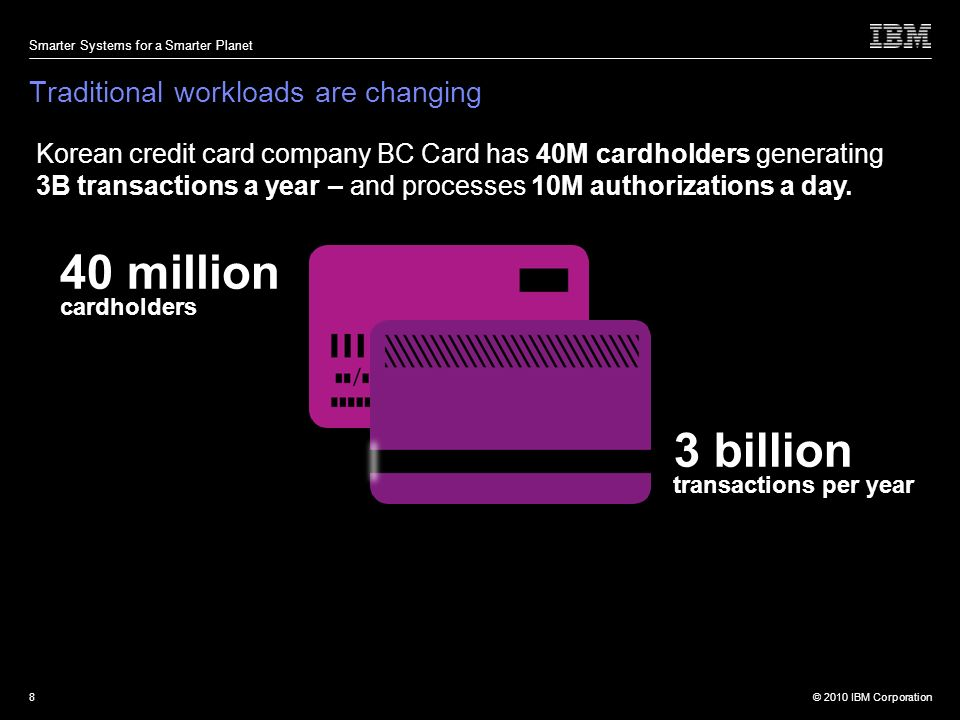 © 2010 IBM Corporation Smarter Systems for a Smarter Planet 8 Korean credit card company BC Card has 40M cardholders generating 3B transactions a year – and processes 10M authorizations a day.